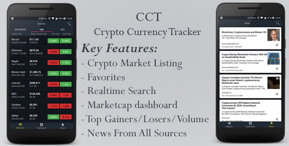 CCT - Crypto Currency Tracker Native Android App | Admob Ads | Analytics | Notifications | News - CodeCanyon Item for Sale
