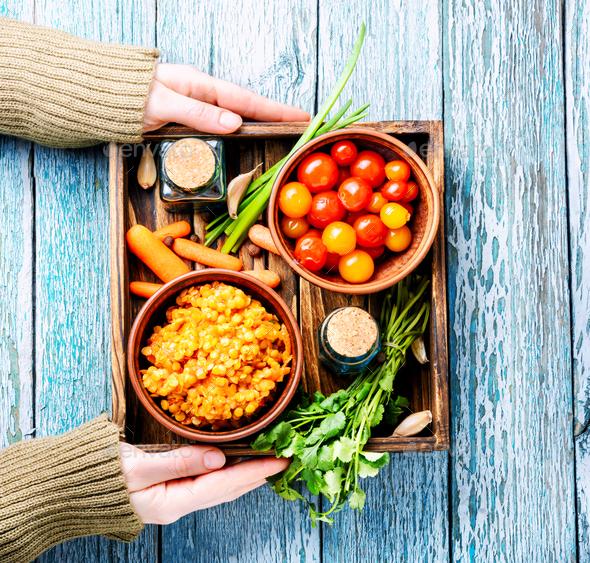 Lentils vegetarian food - Stock Photo - Images