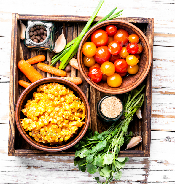 Lentils vegetarian food - Stock Photo - Images