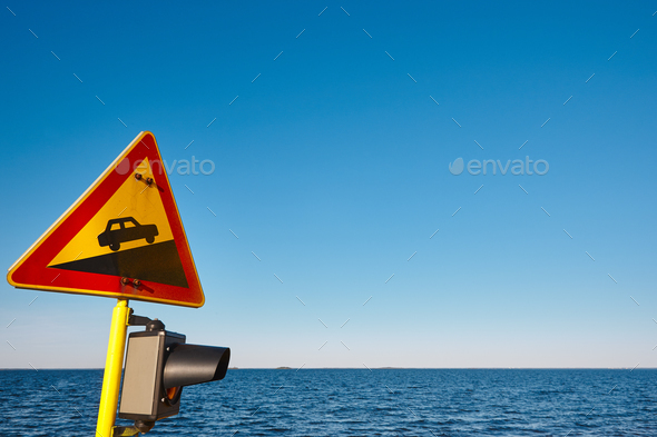 Slope traffic signal on a vessel. Caution alert curiosity warning. Horizontal - Stock Photo - Images