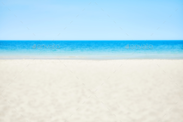 Blurred picture of a beach, nature background - Stock Photo - Images
