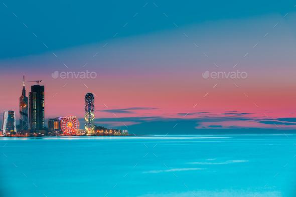 Batumi, Adjara, Georgia. Colorful Bright Evening Sky Over Resort - Stock Photo - Images