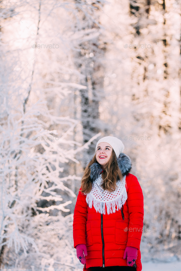 Young Beautiful Pretty Caucasian Girl Woman Dressed In Red Jacke - Stock Photo - Images