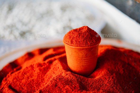 Powdered Cayenne Or Red Hot Chili Pepper On Sale At East Market, - Stock Photo - Images