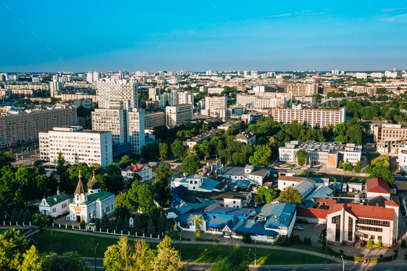 Minsk, Belarus. Aerial View, Cityscape. Summer Season, Sunset - Stock Photo - Images