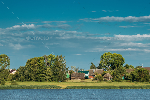 Belarusian Wooden House In Village Or Countryside Of Belarus Wit - Stock Photo - Images