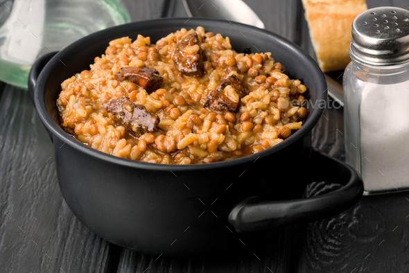 lentils stewed with chorizo - Stock Photo - Images