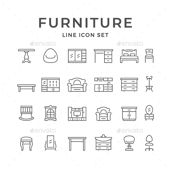Set Line Icons of Furniture - Man-made objects Objects
