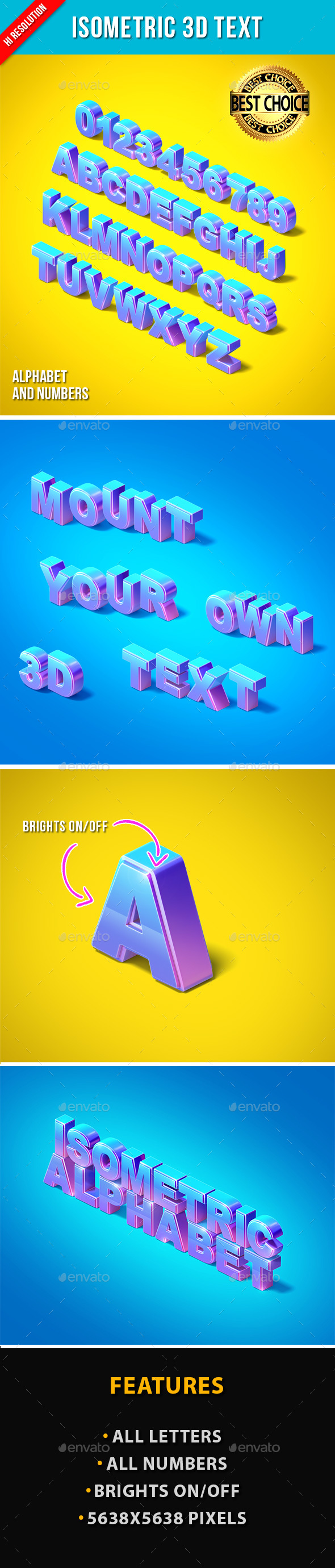 Isometric 3D Text - Text 3D Renders
