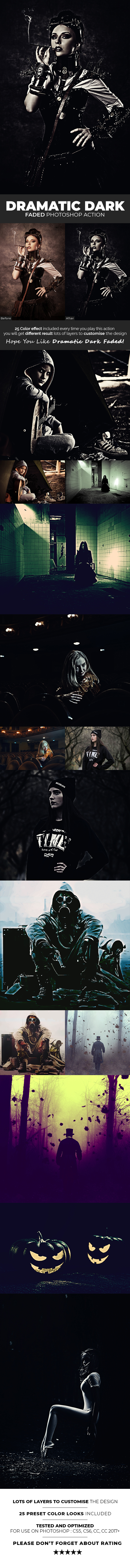 Dramatic Dark Faded Photoshop Action - Photo Effects Actions