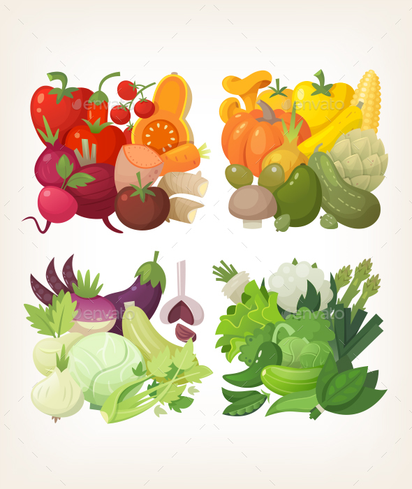 Colorful Vector Vegetables - Organic Objects Objects