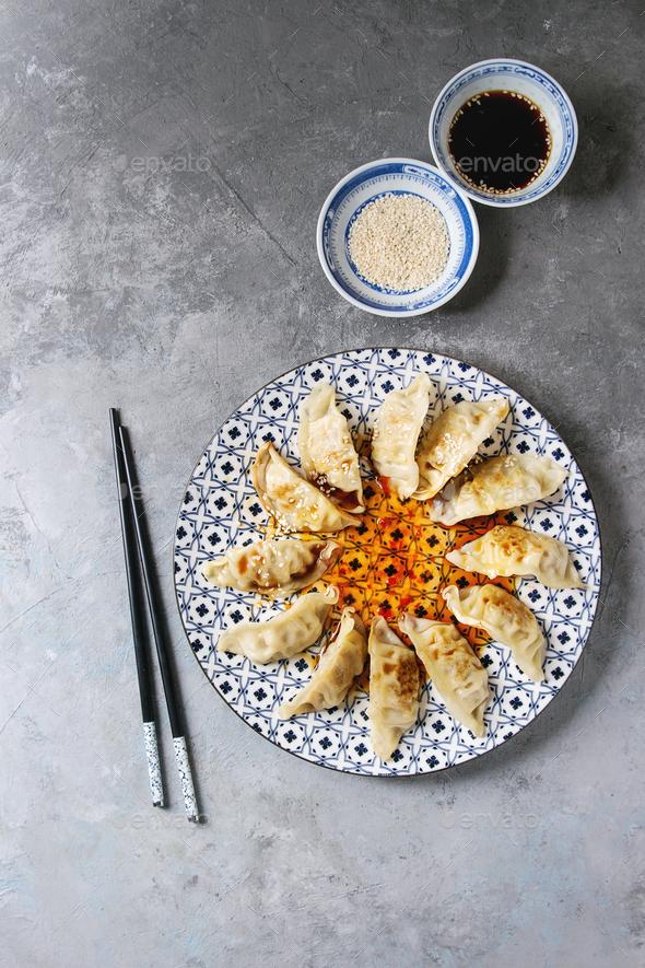Gyozas potstickers asian dumplings - Stock Photo - Images