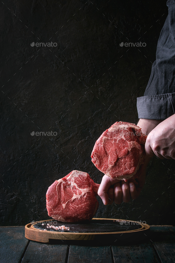 Raw tomahawk steak - Stock Photo - Images