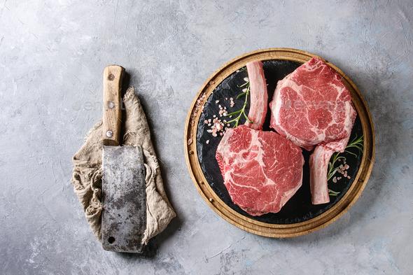 Raw tomahawk steak - Stock Photo - Images