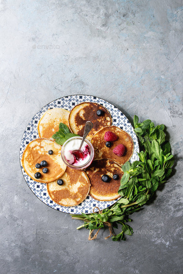 Pancakes with berries - Stock Photo - Images