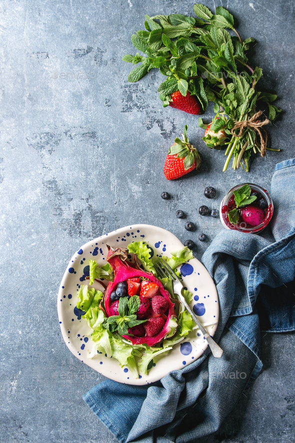 Salad in dragon fruit - Stock Photo - Images