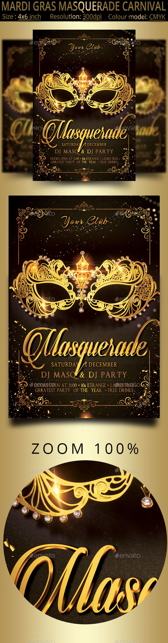Masquerade Mardi Gras Carnival Party Flyer - Events Flyers