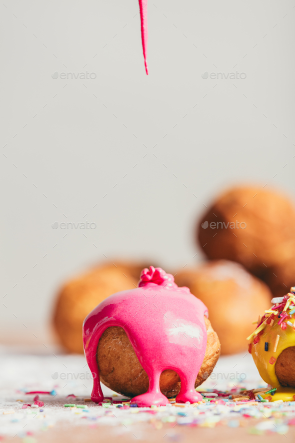 Homemade doughnut with pink glaze. - Stock Photo - Images