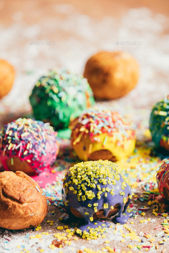 Colorful doughnuts on a kitchen counter. - Stock Photo - Images