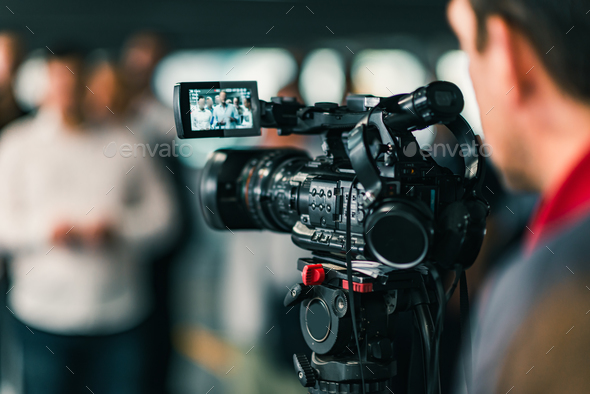 Camera at media conference - Stock Photo - Images