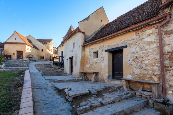 Rasnov citadel medieval paved street - Stock Photo - Images