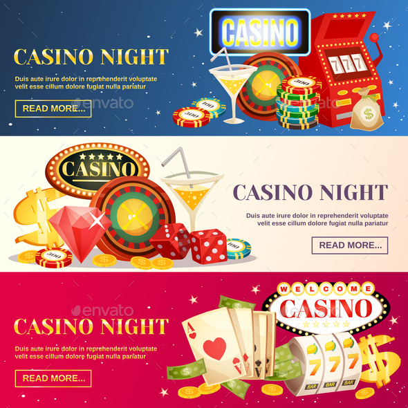 Night Casino Three Horizontal Banners - Business Conceptual