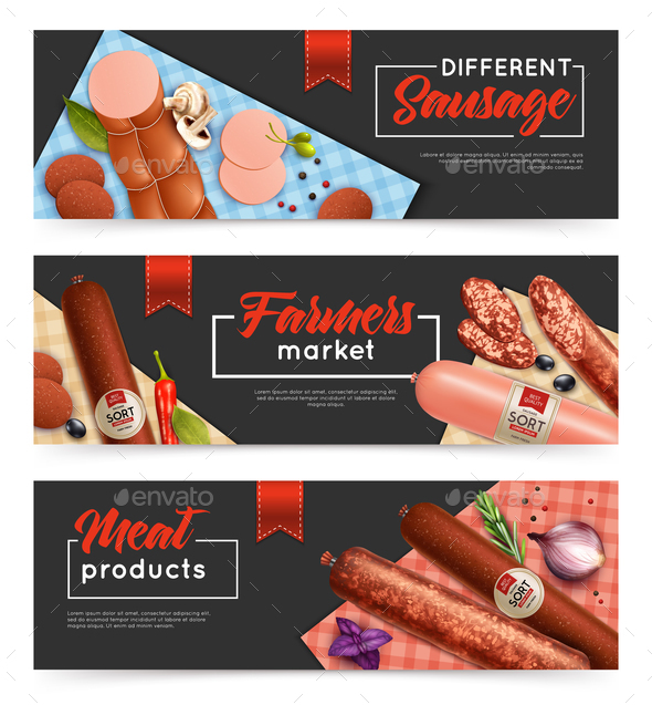 Sausage Banners  Set - Food Objects