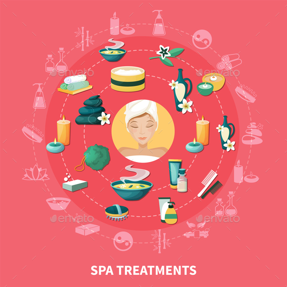 Spa Resort Flat Icons Composition - Backgrounds Decorative