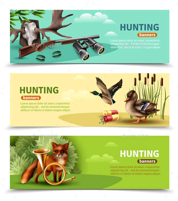 Hunting Horizontal Banners - Animals Characters