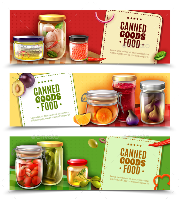 Canned Goods Horizontal Banners - Food Objects