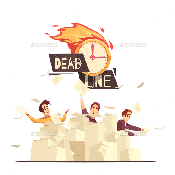 Deadline Workload Pressure Cartoon Illustration - Business Conceptual