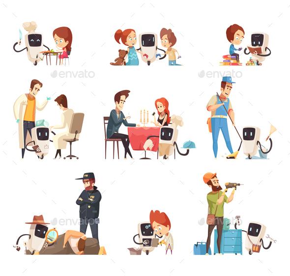 Robots Assistants Cartoon Icons Set - Health/Medicine Conceptual