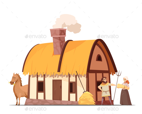 Medieval Peasant Household Cartoon Illustration - People Characters