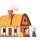 Medieval Peasant Household Cartoon Illustration