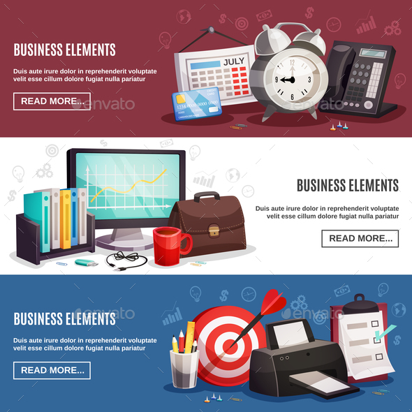 Business Office 3 Horizontal Banners - Backgrounds Decorative