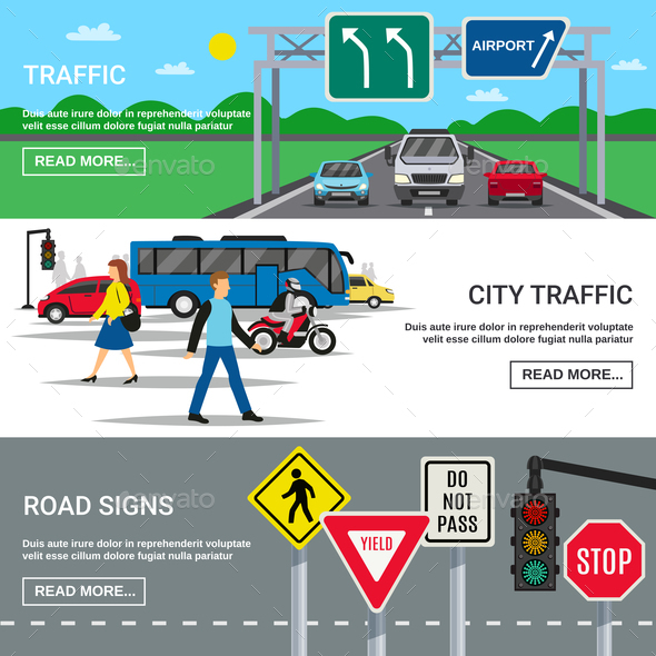 City Traffic Road Signs Banners - Miscellaneous Vectors
