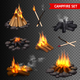 Realistic Campfire Transparent Set