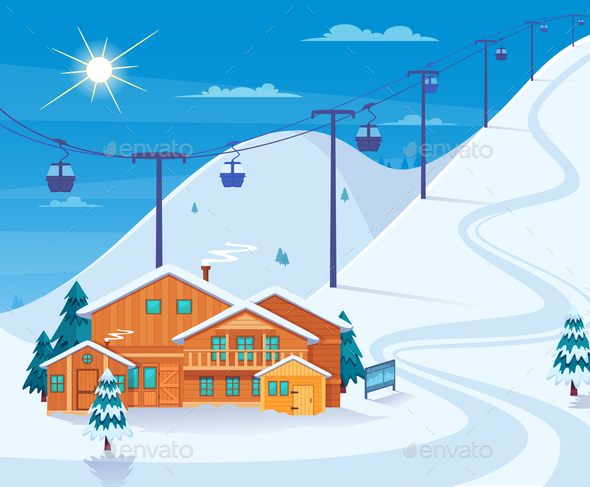 Winter Skiing Resort Illustration - Sports/Activity Conceptual