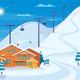 Winter Skiing Resort Illustration
