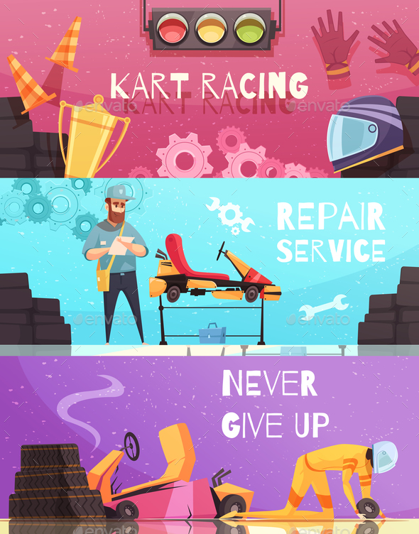 Karting Horizontal Banners Set - Sports/Activity Conceptual