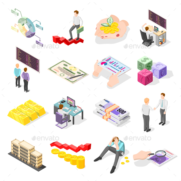 Stock Exchange Isometric Icons - Concepts Business
