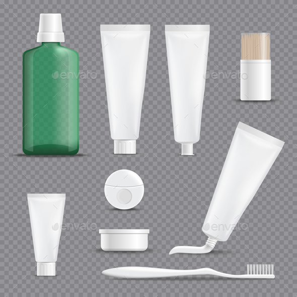 Realistic Dentifrices Transparent Background Set - Man-made Objects Objects