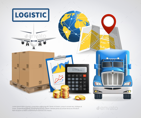 Logistic Colored Poster - Travel Conceptual