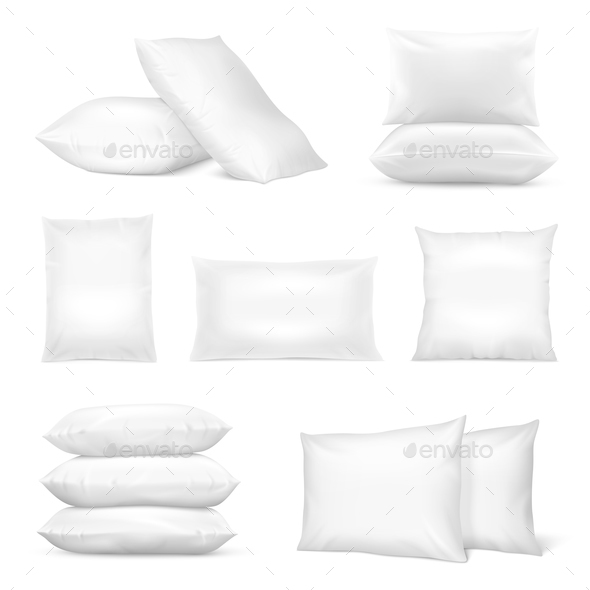 Realistic White Pillows Mockup Set - Man-made Objects Objects