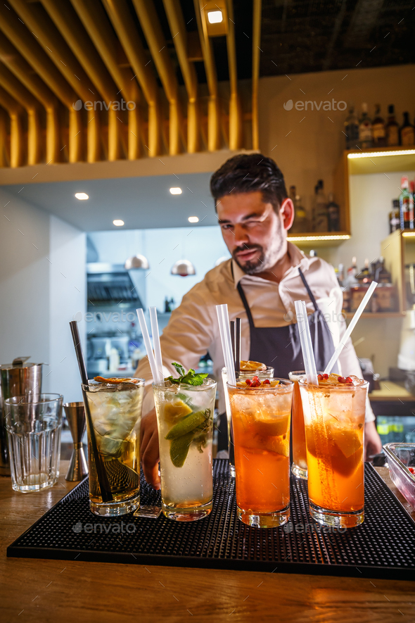 Portrait of handsome barman - Stock Photo - Images