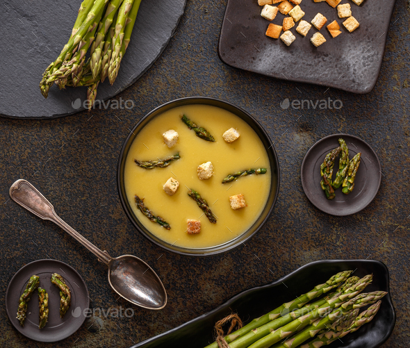 Creamy asparagus soup - Stock Photo - Images