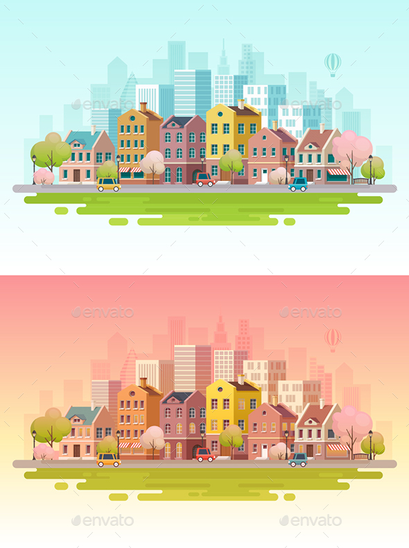 Urban Landscape Background. - Buildings Objects