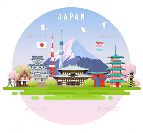 Japan Spring Travel Infographic. - Buildings Objects