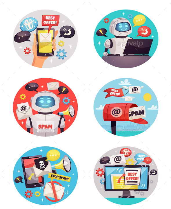 Six Round Spam Bot Icons - Computers Technology