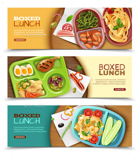 Boxed Lunch Horizontal Banners - Food Objects